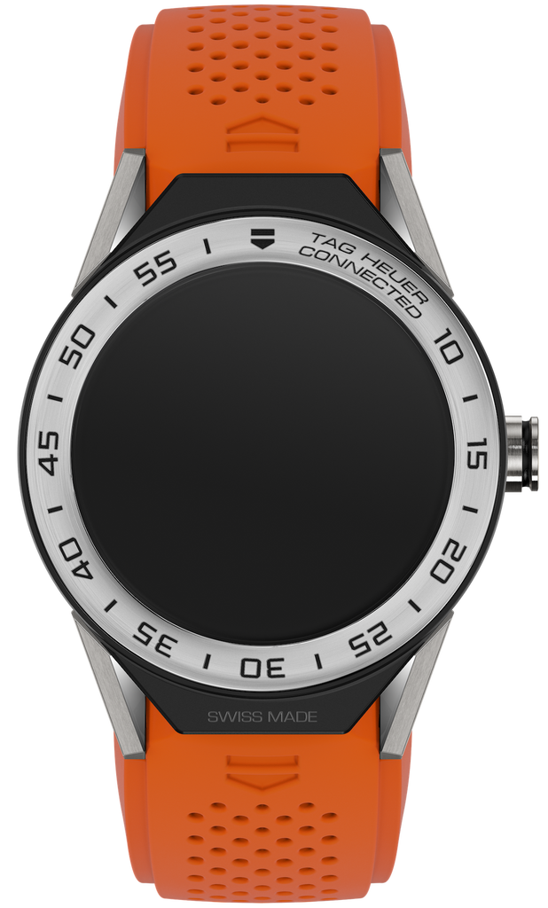 Tag Heuer Connected Modular 45 Orange Rubber With Mat Black Bezel Men's Watch