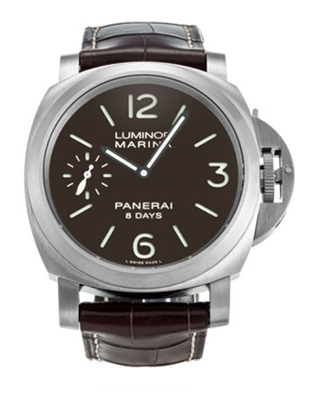 Panerai Luminor Marina 8 Days 44mm Brown Dial Leather Strap Men's Watch