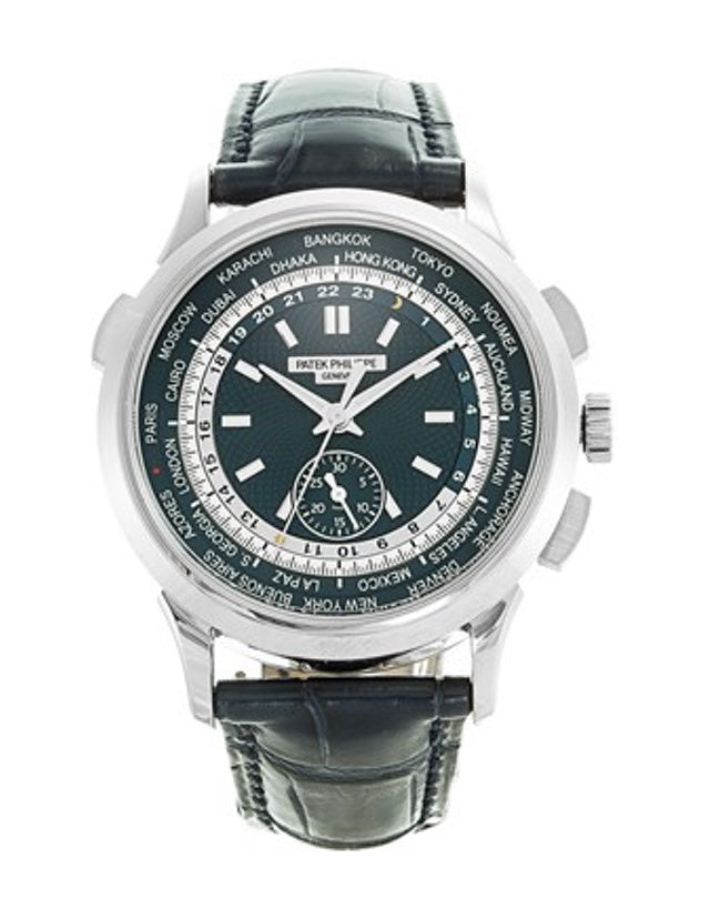 Patek Philippe Complications World Time Chronograph Blue Dial Men's Watch