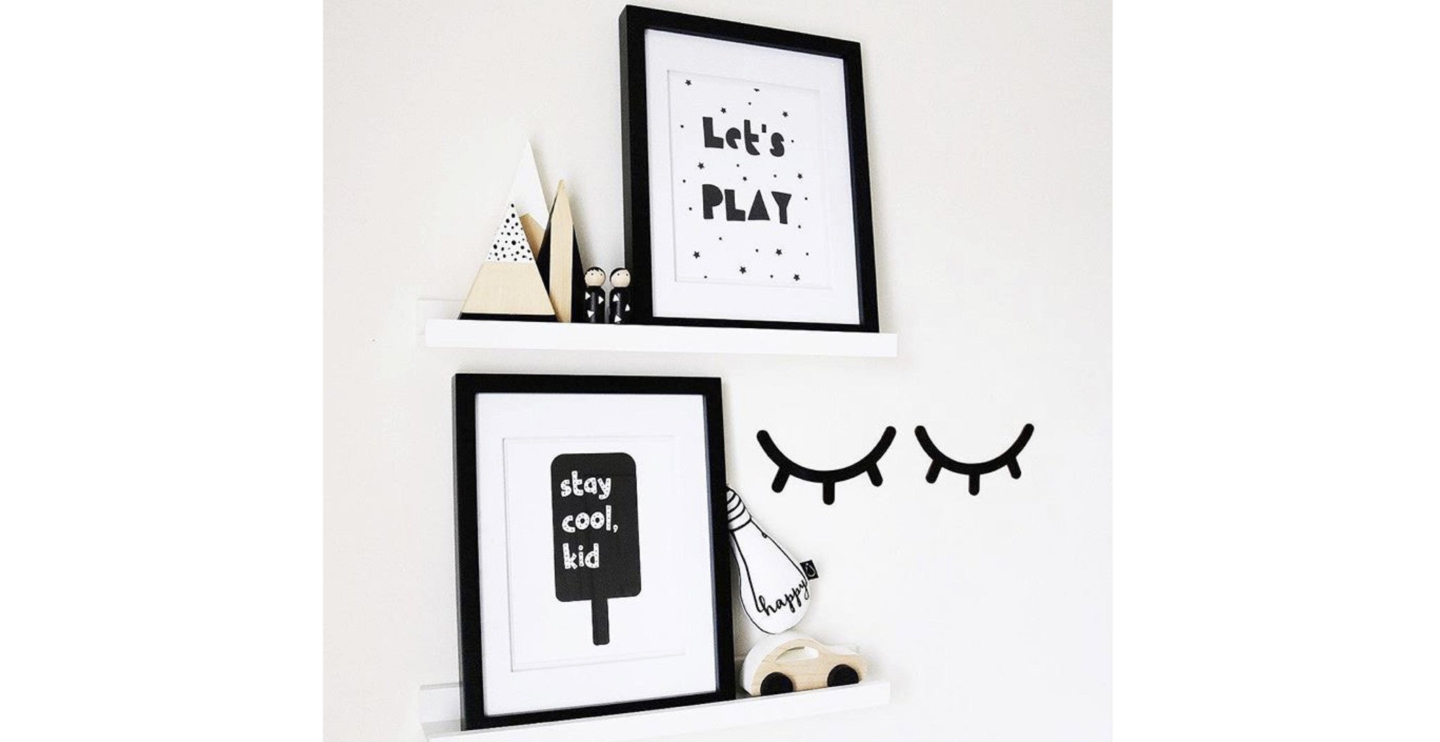 Let's Play and Stay Cool Kid monochrome nursery prints