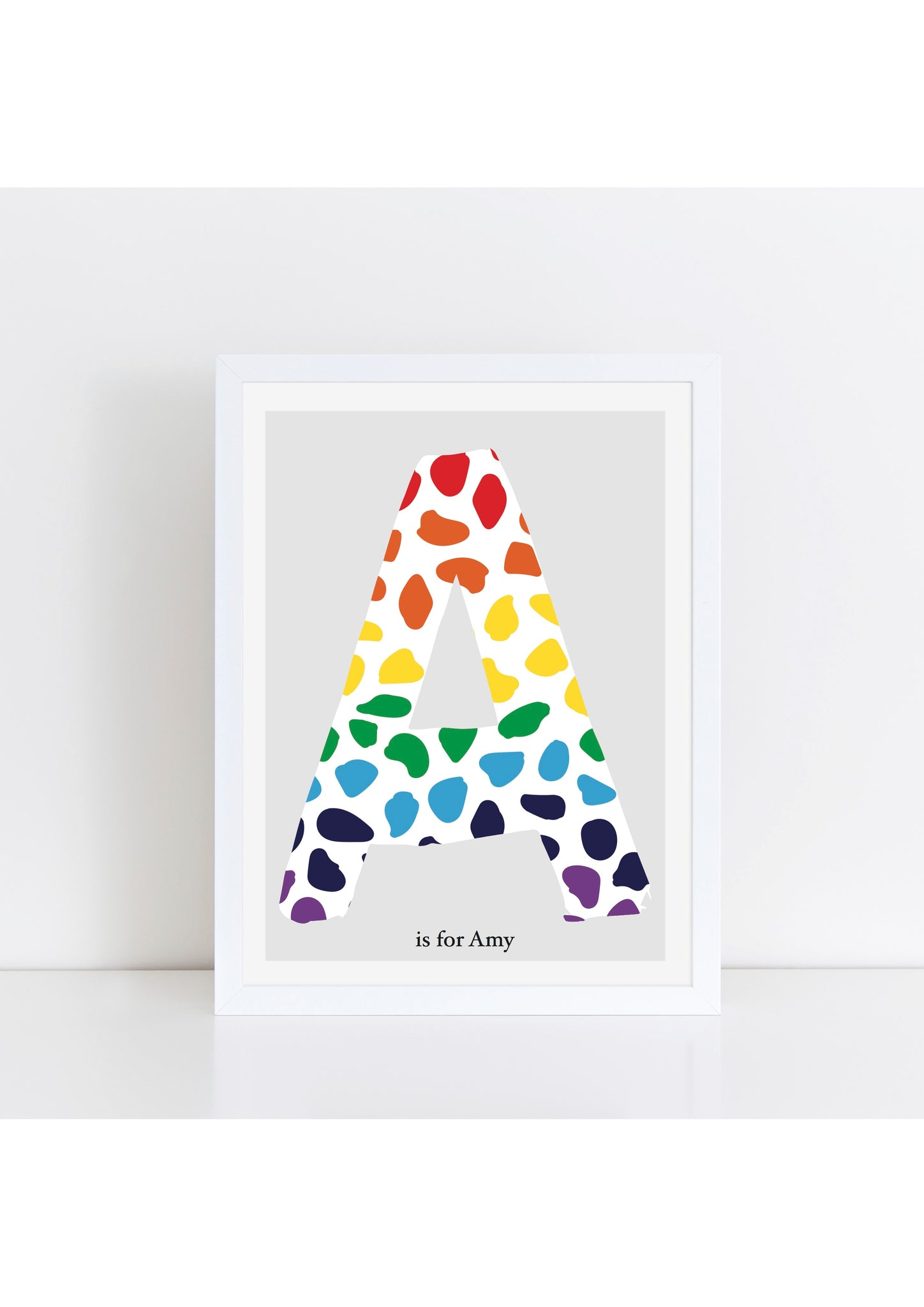 Dalmatian Spot Initial print - rainbow/grey background