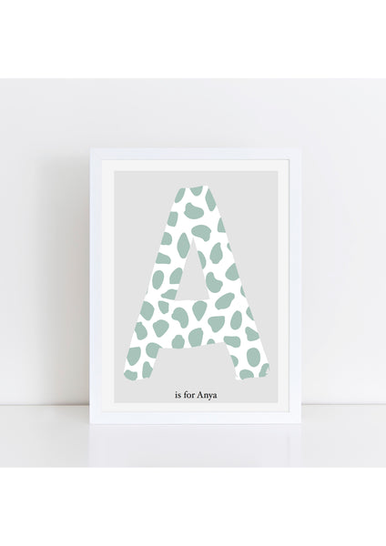 Dalmatian Spot Initial print - green/grey background