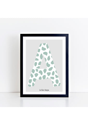 Dalmatian Spot Initial charity print - green/grey background