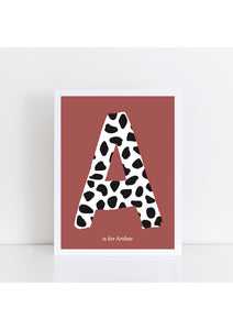 Dalmatian Spot Initial Print - brick background