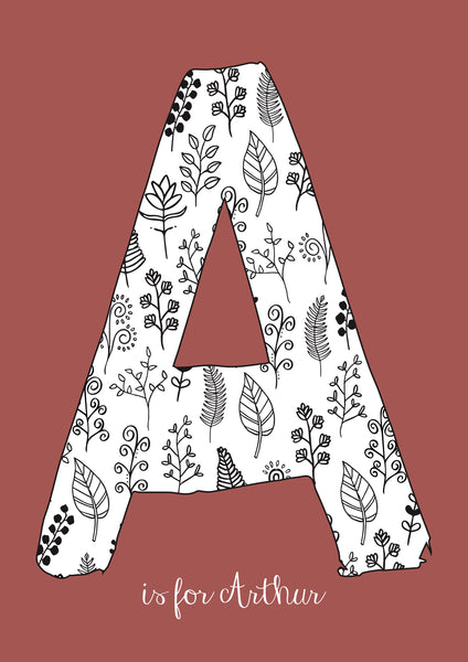 Floral Initial - Brick Background