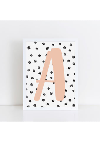 Spotty Background Initial Print - various colours available