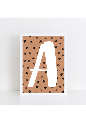 Spotty Initial Print - toffee
