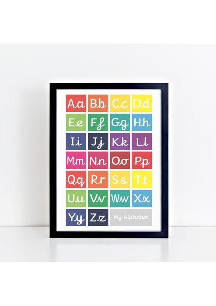 Handwriting Alphabet Print - brights/grey box (with lead-in lines)