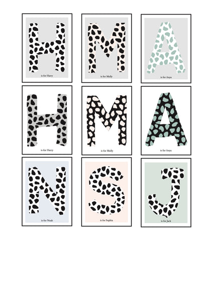 Dalmatian Spot Initial charity print - white/grey background