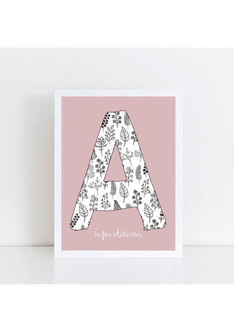 Floral Initial - Dusky Pink Background