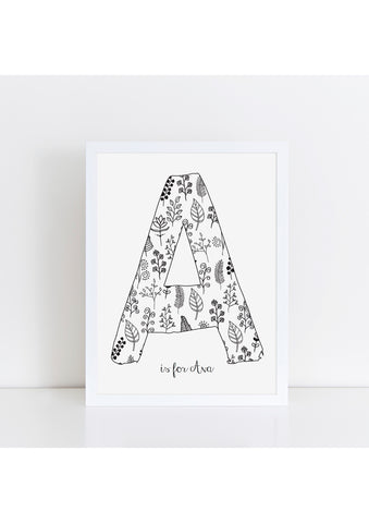Floral Initial Print - white
