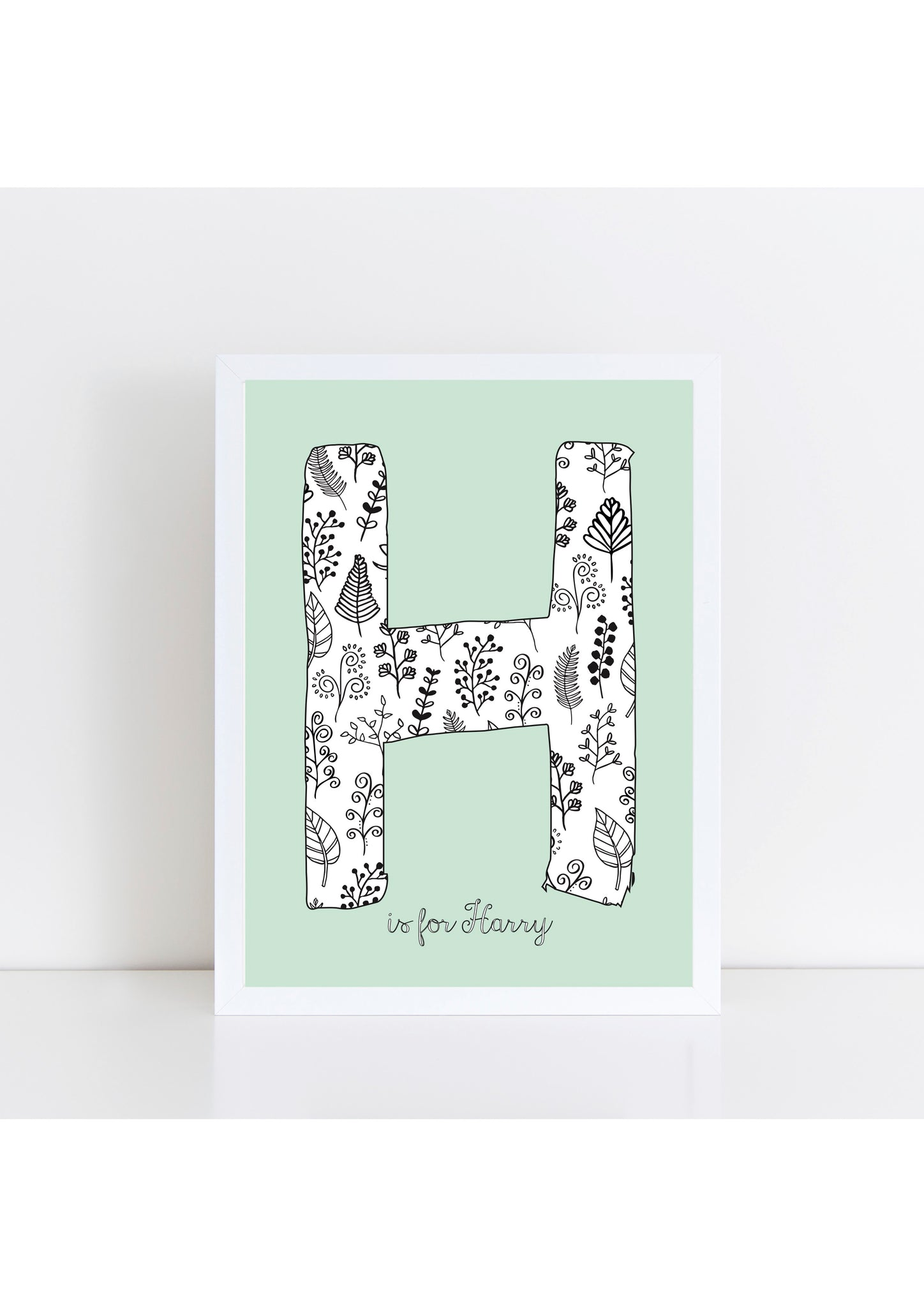 Floral Initial Print - duck egg background