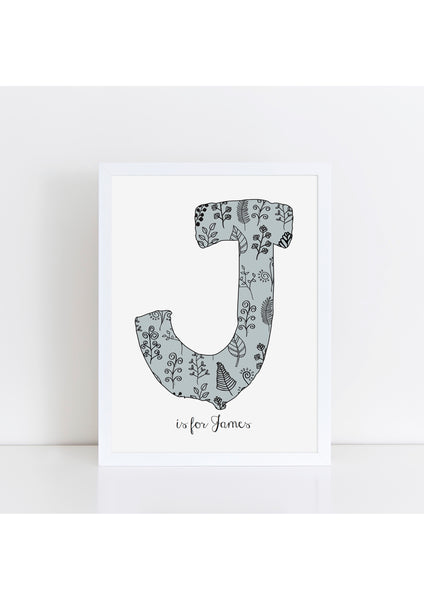 Floral Initial Print - mouse grey