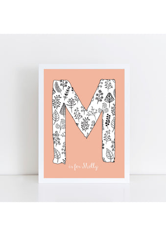 Floral Initial - Peach Background