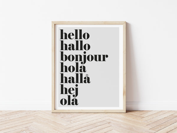 hello hallo Print - grey background