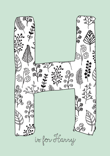 Floral Initial - Duck Egg Background