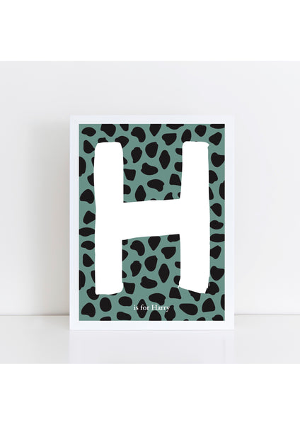 Dalmatian Spot Initial Print - green and black