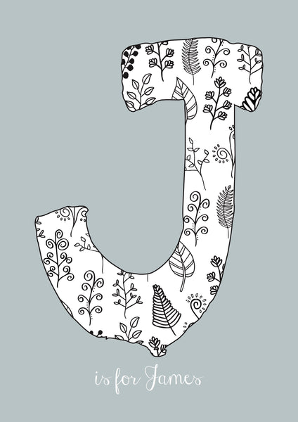 Floral Initial - Mouse Grey Background