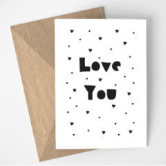 Love You card - black
