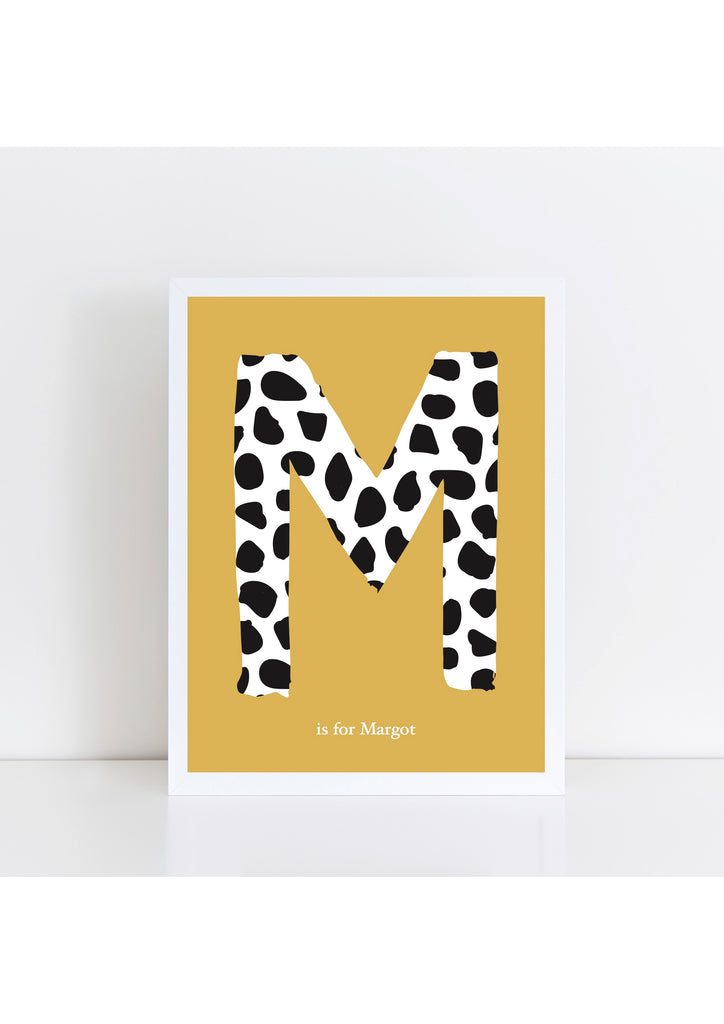 Dalmatian Spot Initial - mustard background
