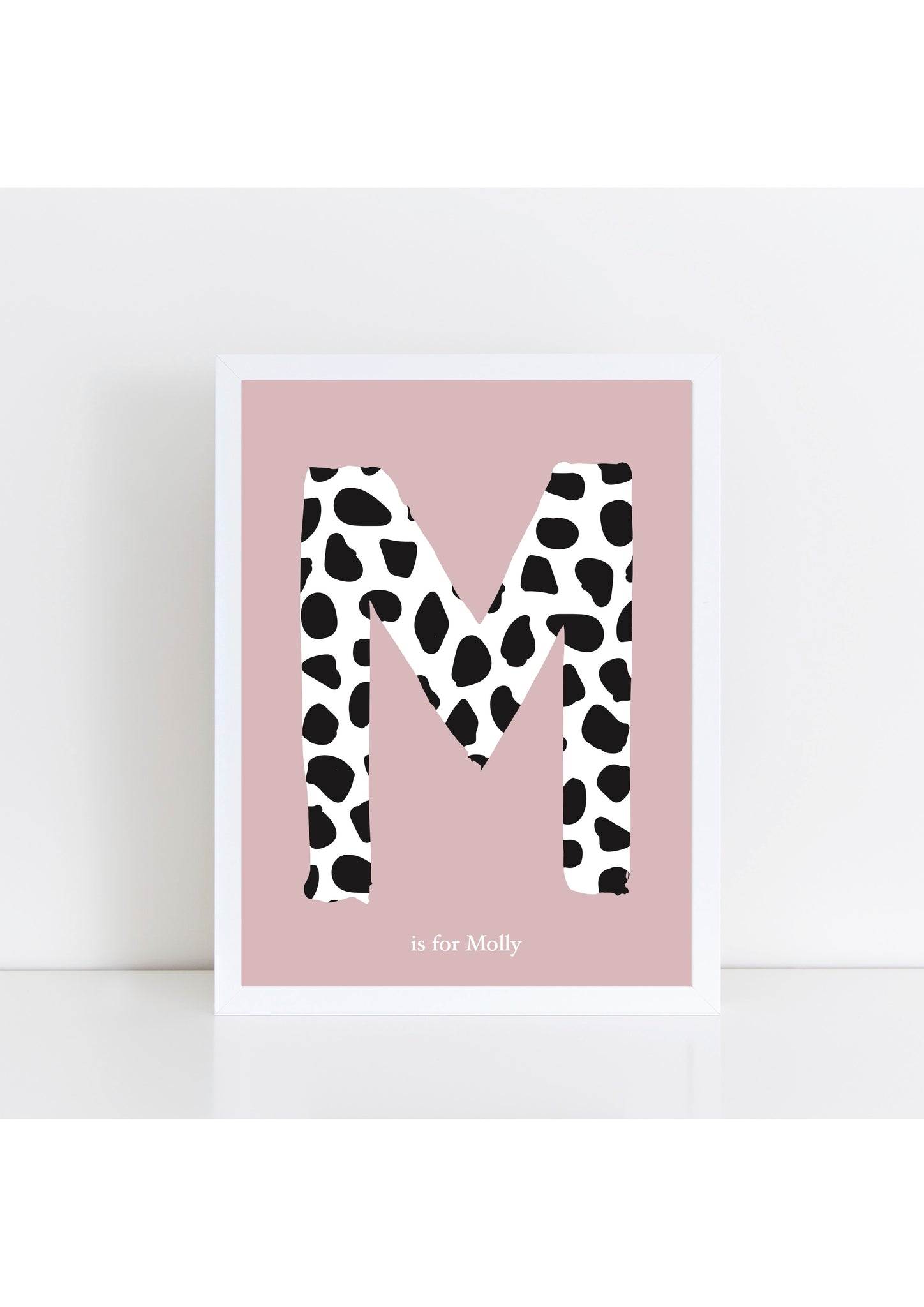 Dalmatian Spot Initial - dusky pink background