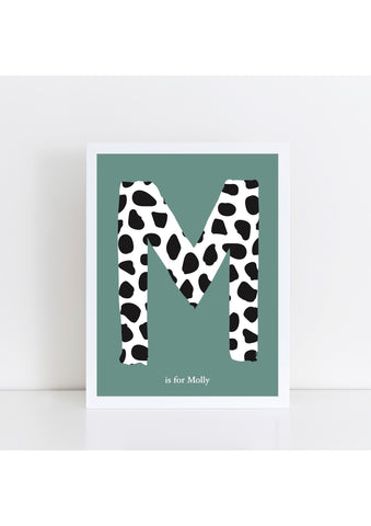 Dalmatian Spot Initial charity print - green background