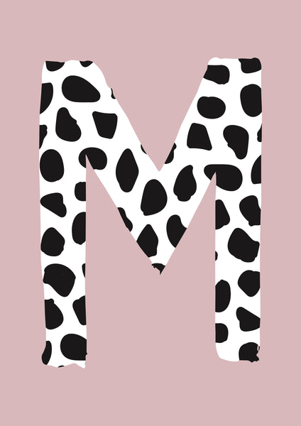 Dalmatian Spot Initial charity print - dusky pink background