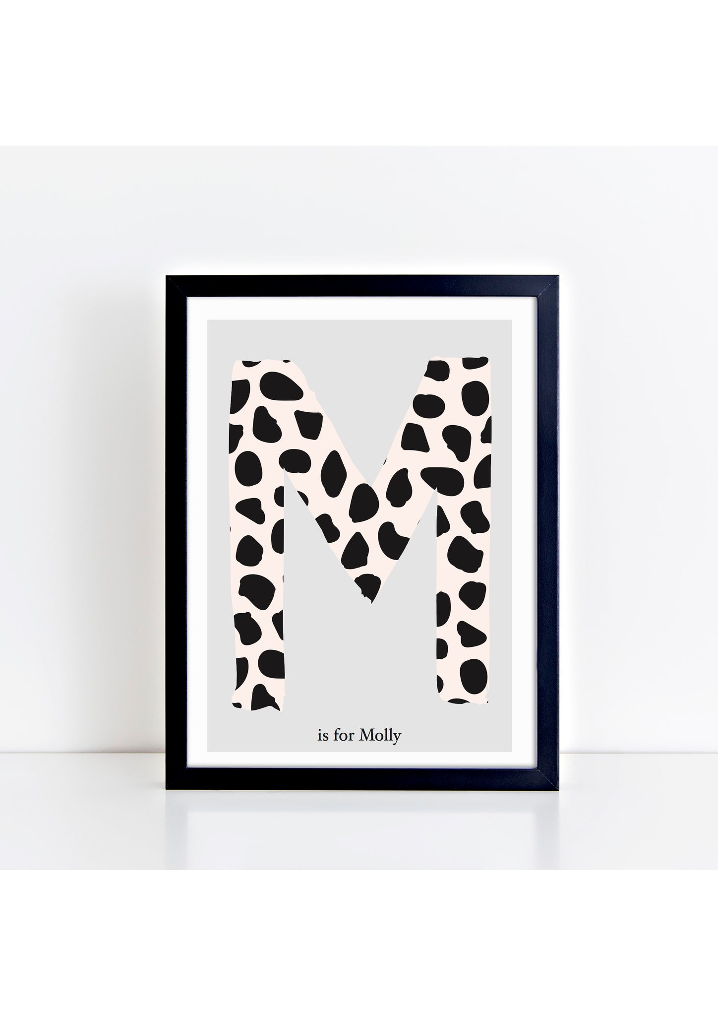 Dalmatian Spot Initial print - pink/grey background