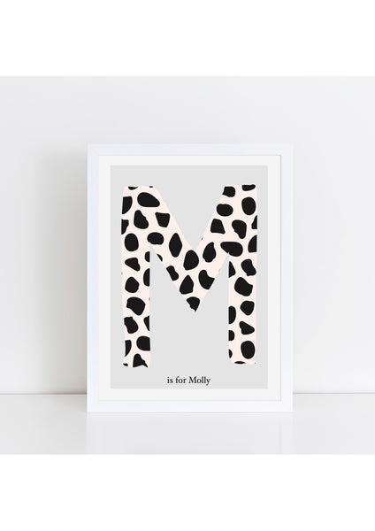 Dalmatian Spot Initial charity print - pink/grey background