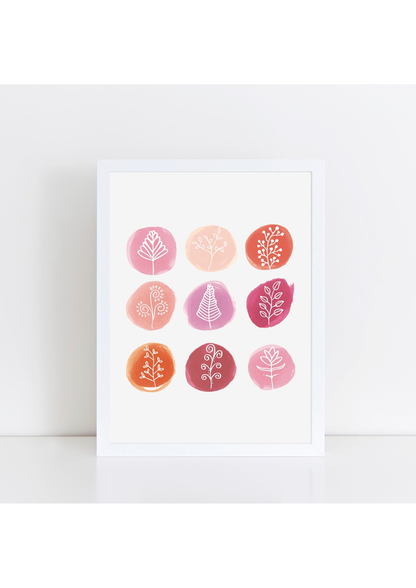 Marker Circles Florals Print - pink/white