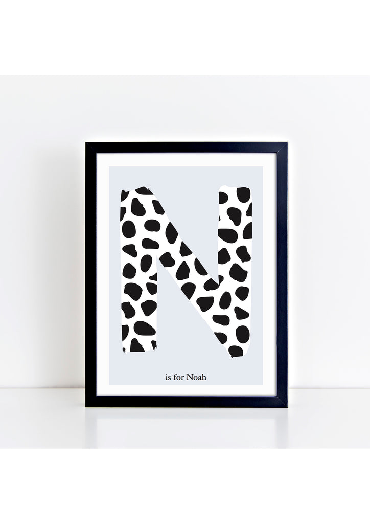Dalmatian Spot Initial charity print - blue background
