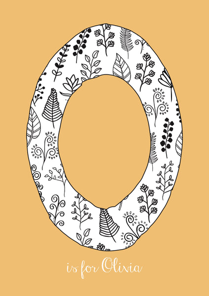 Floral Initial - Ochre Background