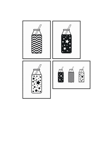 Set of 4 postcards - Milk Bottles