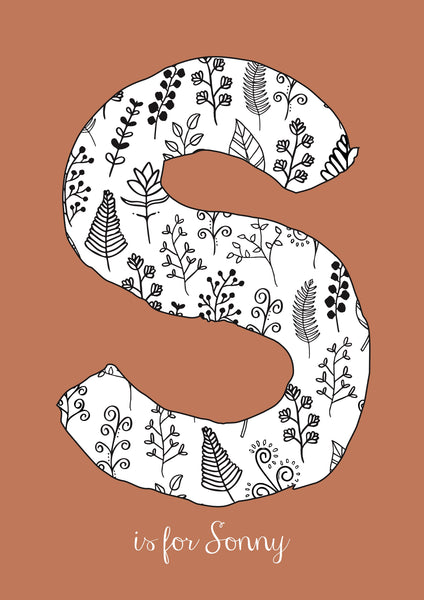 Floral Initial - Rust Background