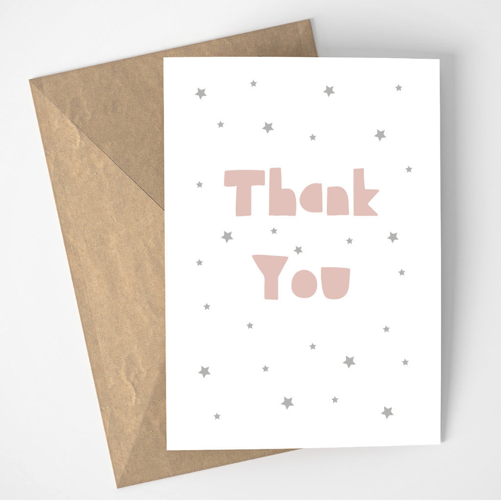 Thank You card - pink/grey