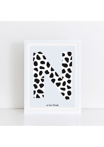 Dalmatian Spot Initial Print - blue background