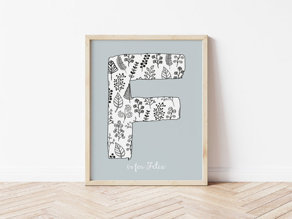 Floral Initial Print - mouse grey background