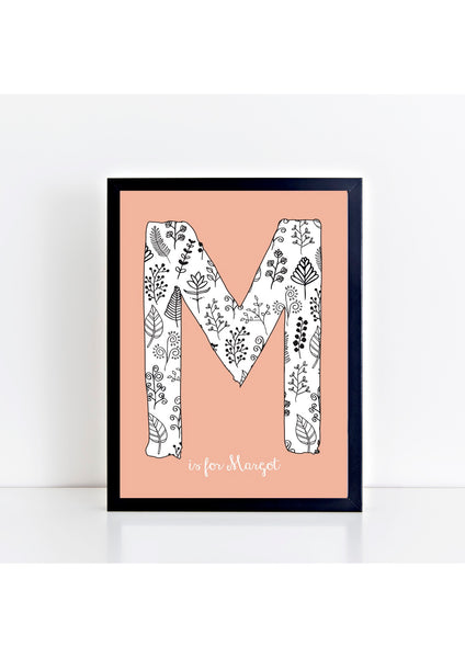 Floral Initial Print - peach background