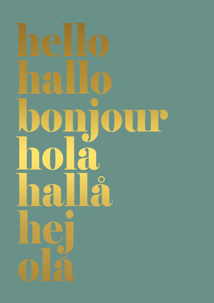 hello hallo -  gold foil on green