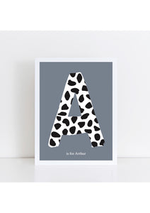 Dalmatian Spot Initial - stone background