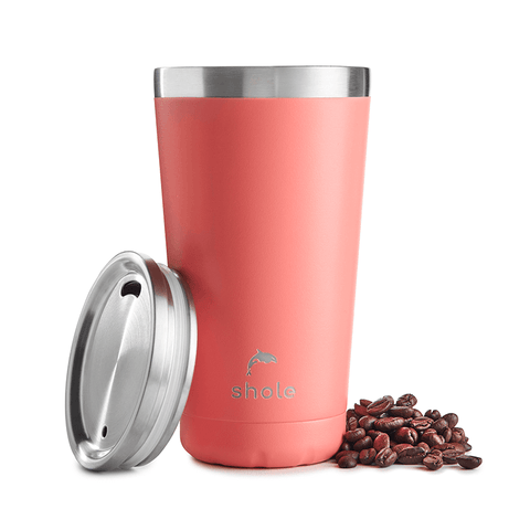 16oz Stainless Steel Coffee Cup - Coral