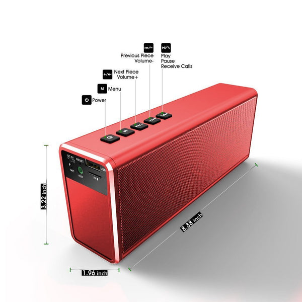 red bluetooth speaker - wireless dual pairing up to 40W