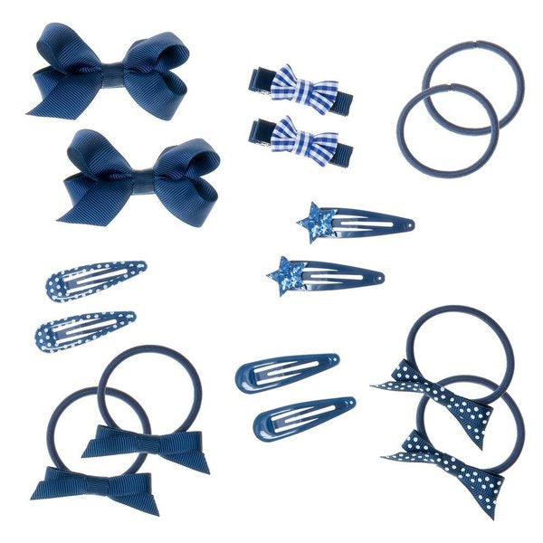 School Hair Set - 16 Pieces Blue