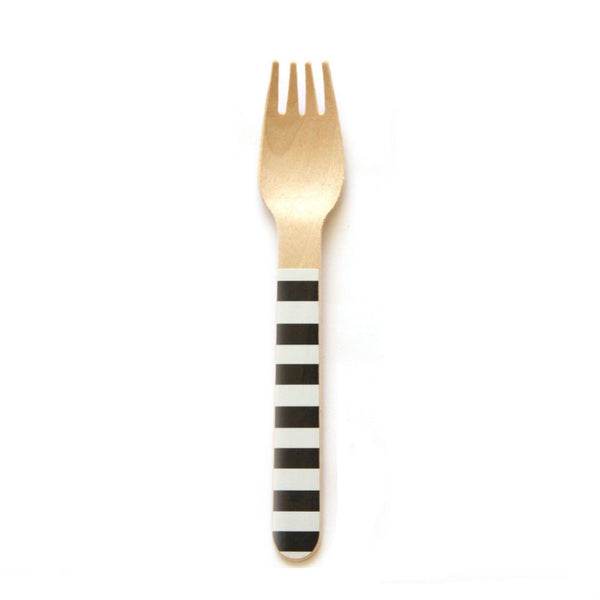 Black Stripe Wooden Forks (24 Pack)