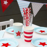 Blue with Red Star Cake Plates (12 Pack)