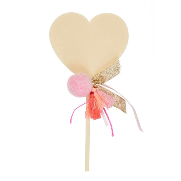 Cream Heart Cake Topper
