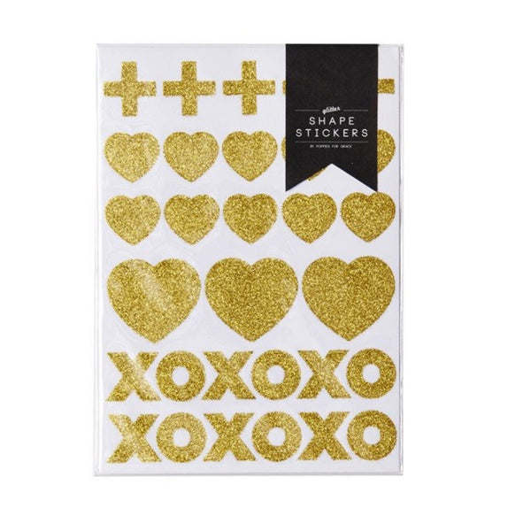 Gold Glitter Shape Stickers