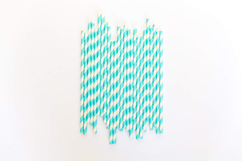 Blue Striped Straws (24 Pack)