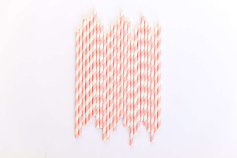 Pink Striped Straws (24 Pack)