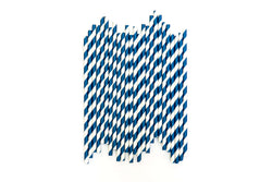 Navy Blue Striped Straws (24 Pack)